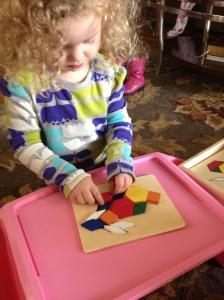 Kara and her pattern blocks